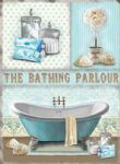 Bathing Parlour, Bath, Spa, Bathroom Vintage Metal Sign Plaque Blue Gift